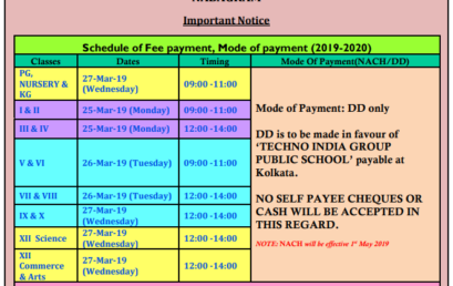 Schedule of Fee payment